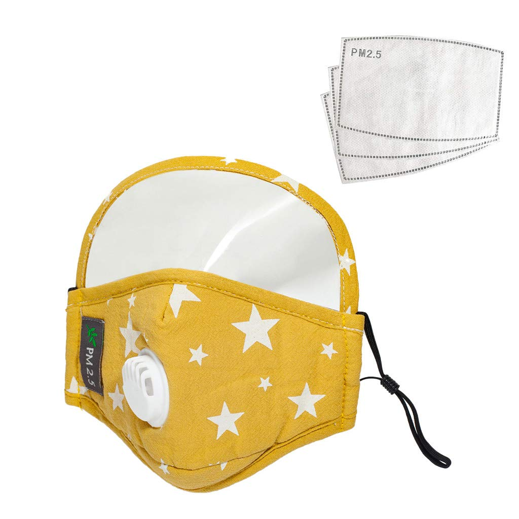 Reusable Cotton Face Bandanas with Breathing Valve, Face Protection with Eyes Shield (PVC), Full Protection, Indoors and Outdoors, Anti-Haze Dust, 1Pc with 3 Pcs Filters for Kids