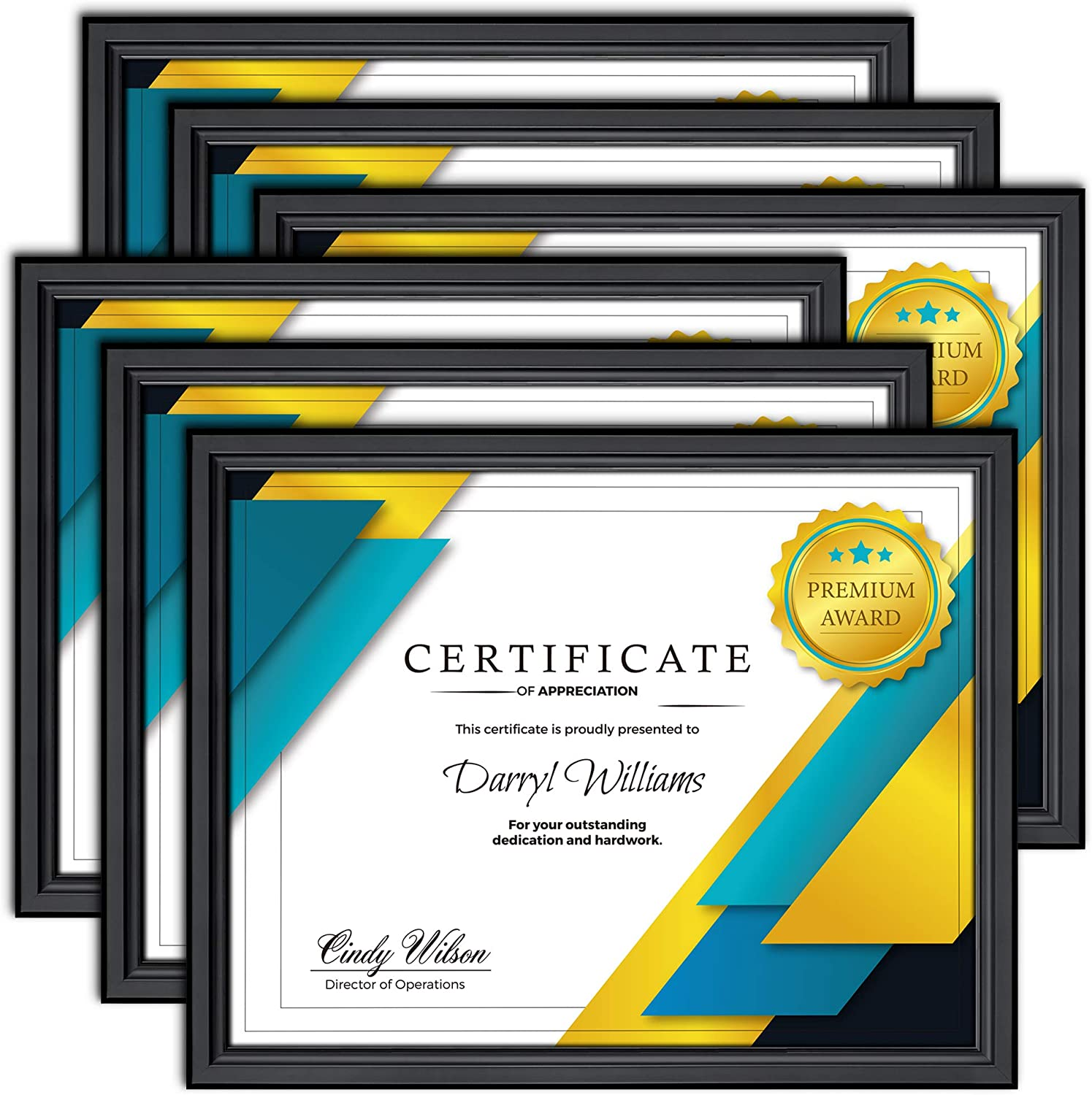 Langdon House 8.5x11 Certificate Frames Set (Black, 12 Pack) Distinguished Edging for Classic Style, Richland Collection