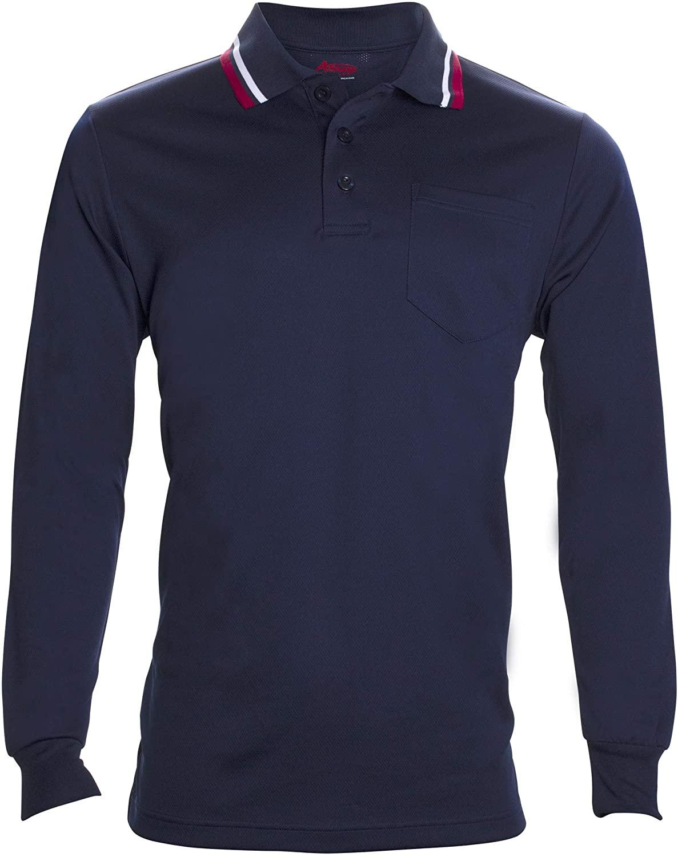 Schutt Adams Umpire Shirt Long Sleeve Polo for Baseball and Softball Umpires, X-Large, Navy