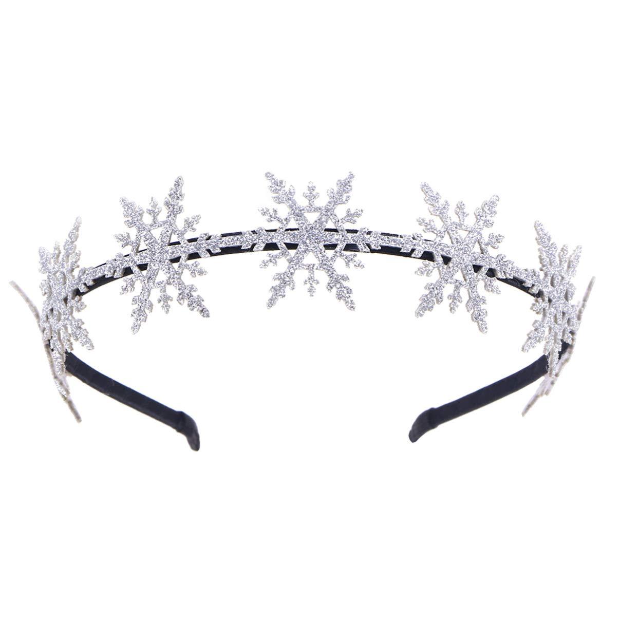 Lurrose Glitter Snowflake Headband Christmas Headband Christmas Hair Hoop for Costume Carnival Holiday Christmas Party Favor (Silver)