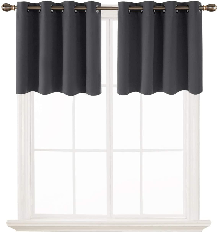 Deconovo Dark Grey Valances for Kitchen Grommet Blackout Curtains Window Treatments 52x24 Inch 2 Panels