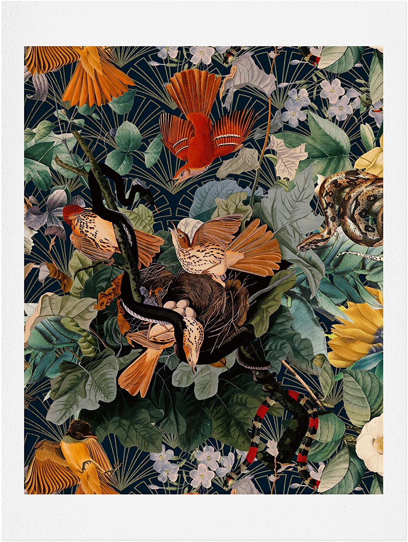 Society6 Burcu Korkmazyurek Birds and Snakes Art Print, 8x10, Multi