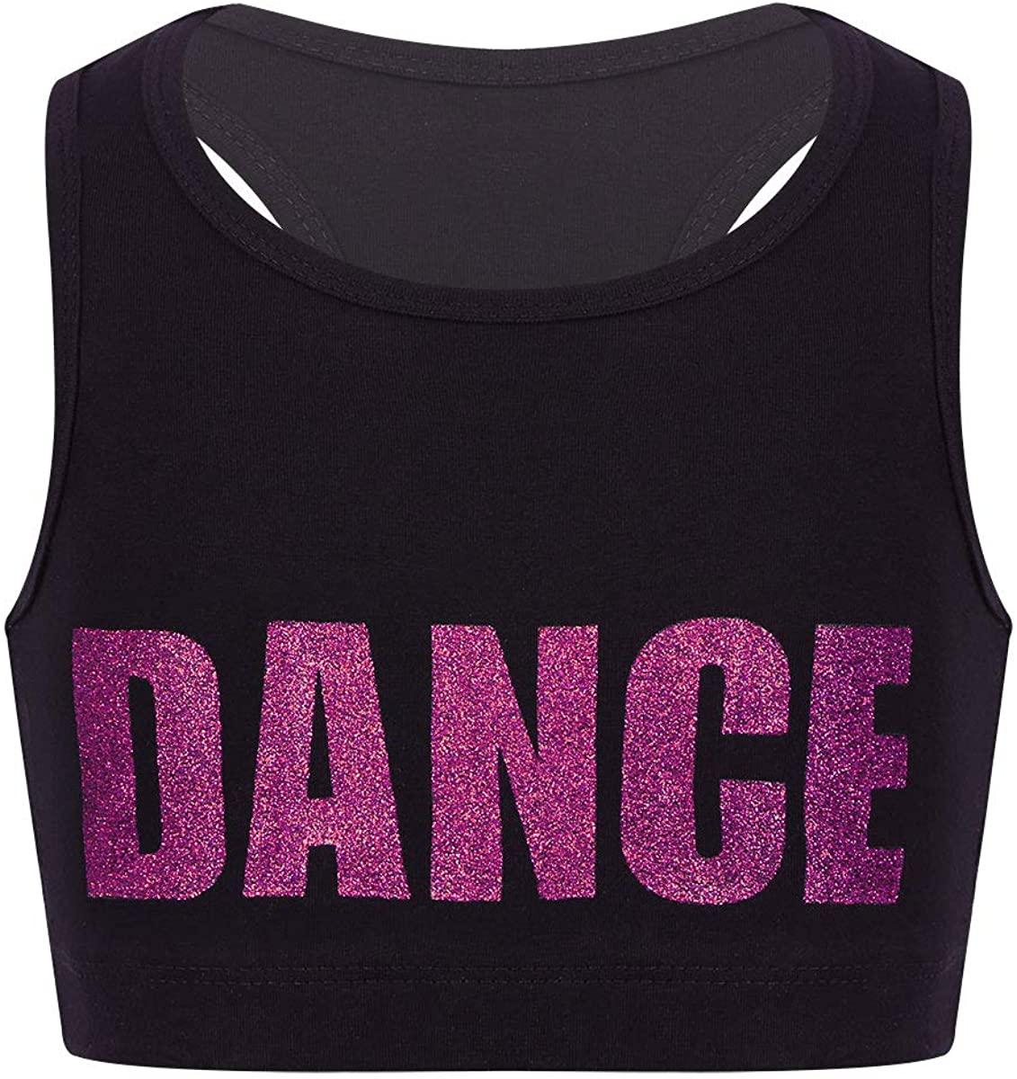 ranrann Kids Girls Racer Back Crop Bra Top Shiny Dance Printed Sports Bra Gymnastic Workout Yoga Top Outfit