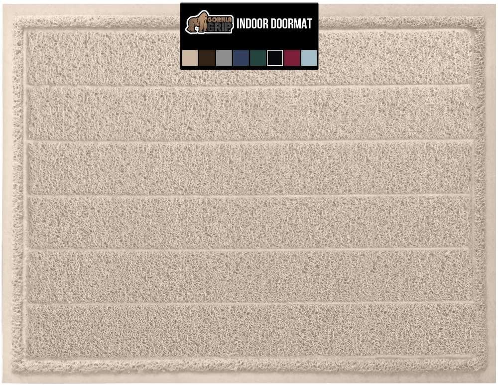 Gorilla Grip Original Durable Indoor Door Mat, 47x35, Large Size, Heavy Duty Doormats, Commercial Waterproof Stripe Doormat, Easy Clean, Low-Profile Mats for Entry, Garage, High Traffic Areas, Beige