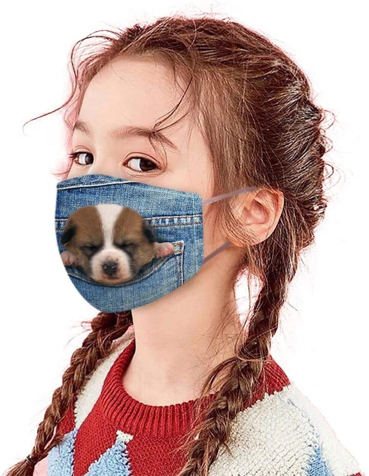Childrens Face Bandana_Mask_Covering Fashion Cute Dog& Cat Jeans Print Face Protection for Student Starts School Adjustable Face Fabric Earloop Washable Reusable Easy Breathable