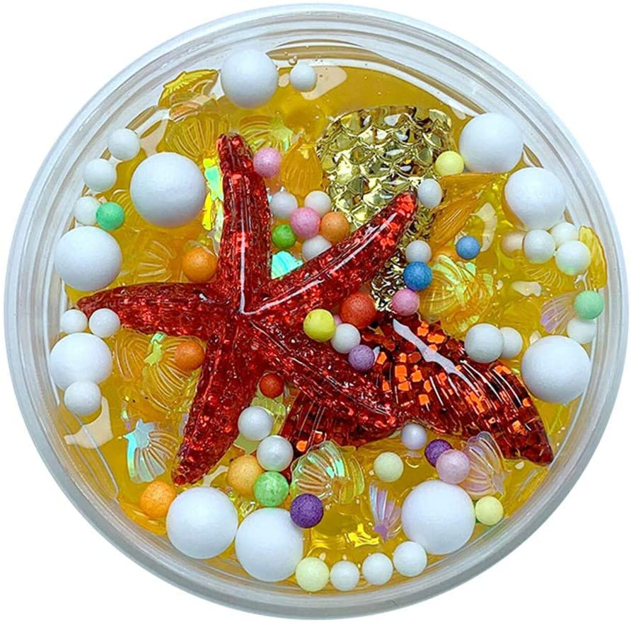 Crystal Mud Toys Fluffy Starfish Mermaid Tail Charms Fishbowl Bubble Bath Slime Toy with PP Boxed, for Any Child Favor, Gift, Birthday (Gold)