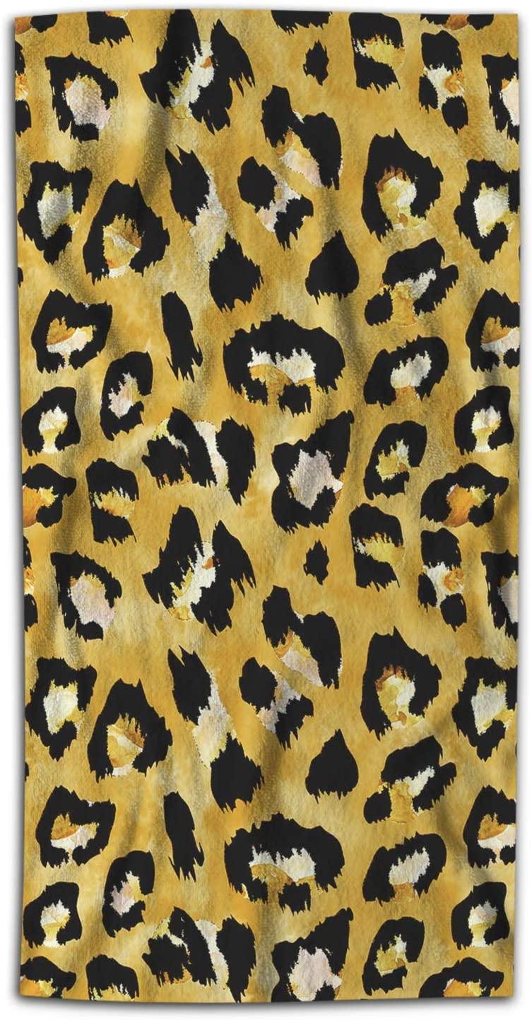 Moslion Leopard Bath Towel Wild Animal Lion Tiger Skin Brown Doodle Print Towel Soft Microfiber Baby Hand Beach Towel for Women Bathroom 32x64 Inch Green