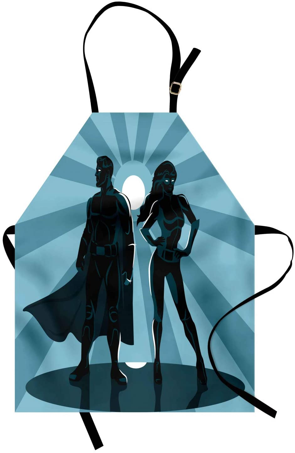 Ambesonne Superhero Apron, Man and Woman Superheroes Costume Capes Night Protector in Moonlight, Unisex Kitchen Bib with Adjustable Neck for Cooking Gardening, Adult Size, Blue Teal