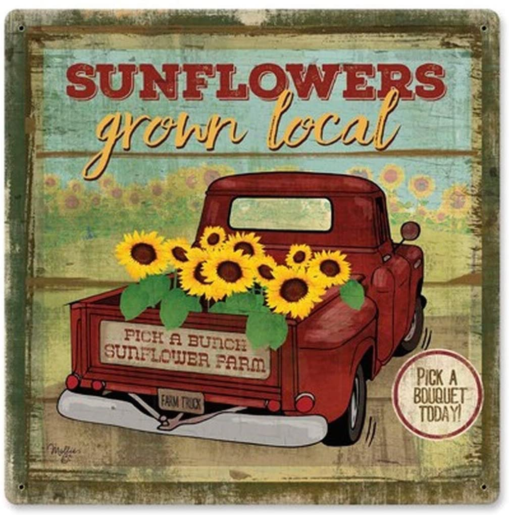 SmartCows Local Grown Sunflowers Retro Vintage Decor Metal Tin Sign 12 x 12 Inches