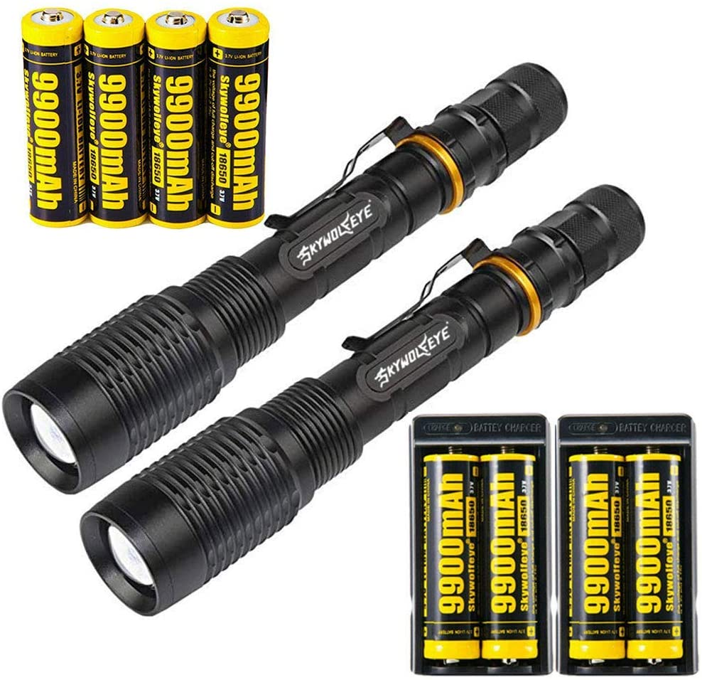 2 Set Tactical 2000LM Zoomable 5 Modes Portable LED 18650 Flashlight 9900mAh Rechargeable Batteries Dual Smart Battery Chargers for Camping Hiking Running Outdoor