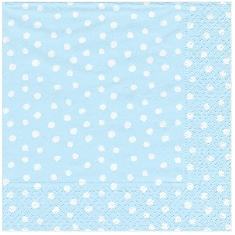 Caspari Small Dots Paper Luncheon Napkins in Blue - Two Packs of 20