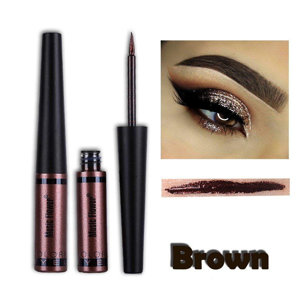 Cocohot Metallic Liquid Eyeliner Glitter Waterproof Eyeshadow Liquid Silver Golden Brown Red Green Blue (A6)