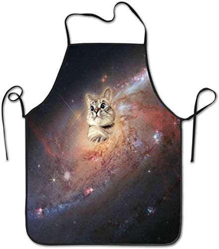 Cat in Space Aprons for Women and Men - Durable Comfortable Bib Apron Chef Kitchen Aprons for Cooking, Baking, Crafting, BBQ