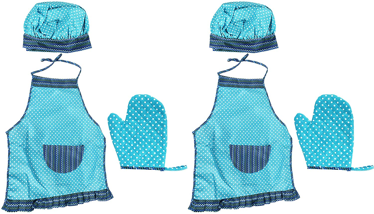 Set of 2 Children's Chef Outfits! Apron, Hat, and Oven Mitt! Perfect for Dressup and Parties! (2 Aprons, Blue Print)