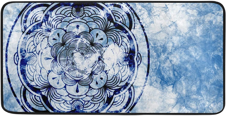 Kitchen Mat Abstract Blue Mandala Graphic Design Anti Fatigue Mat Kitchen Under Sink Mats Soft Non Slip Standing Mat Soft Office Floor Mats Kitchen Rug for Door Outside Decor 39 X 20 Inch