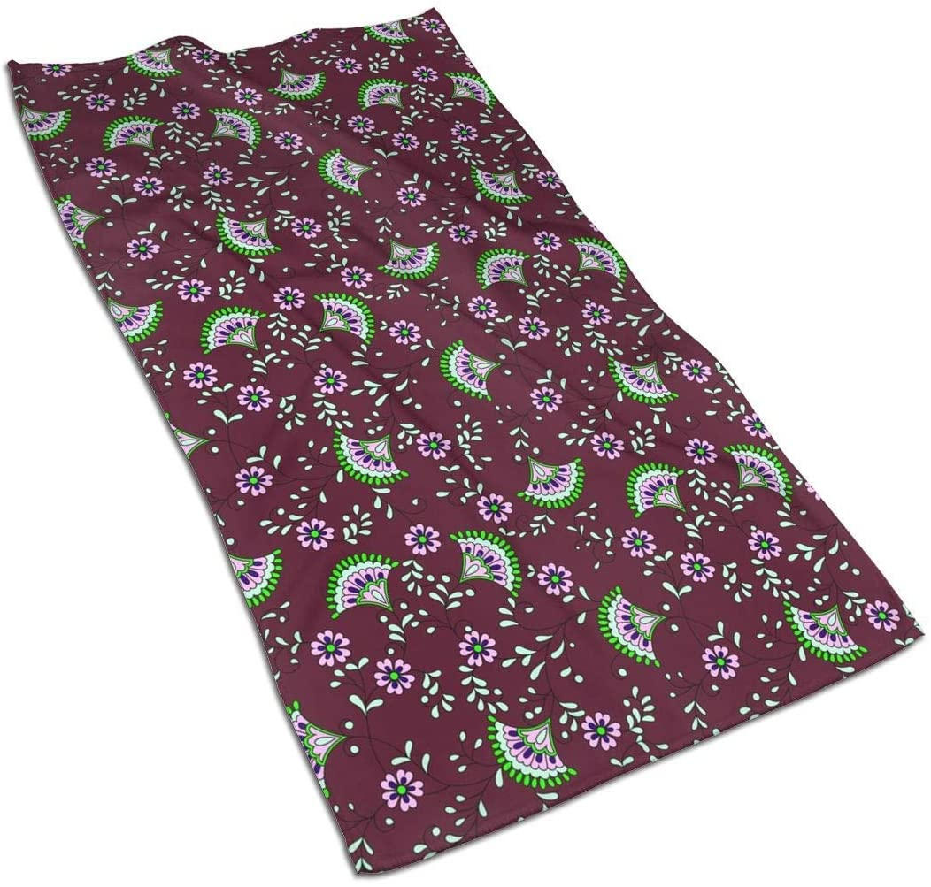 ~ Hand Towels Soft Bath Towel Decoration Multipurpose for Bathroom, Hotel, Spa, Gym 27.5 X 15.7 Inches-Paisley Red Flower Vintage Ethnic
