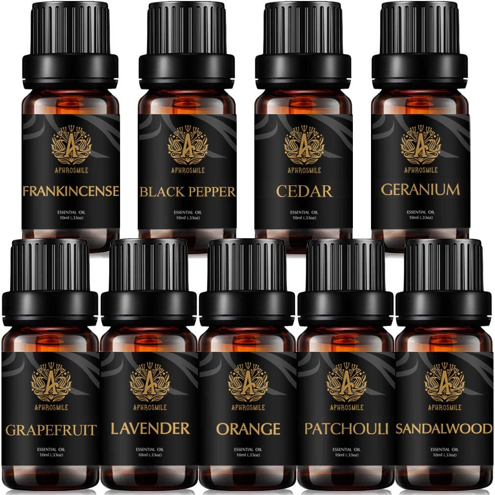 9x10ml Organic Frankincense Essential Oil Set for Diffuser, 100% Pure Black Pepper Essential Oil Kit for Humidifier, Aromatherapy Orange Essential Oils Set- Grapefruit,Patchouli Oil. for Soap Making