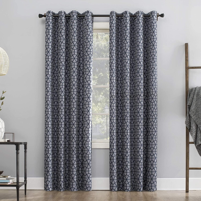 Sun Zero Verve Twill Mosaic Thermal Extreme 100% Blackout Grommet Curtain Panel, 52