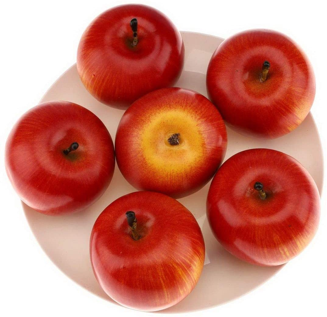 Gresorth 6pcs High Grade Fake Red Apple Decoration Artificial Realistic Fruit Simulation for Home Party Holiday Christmas Display