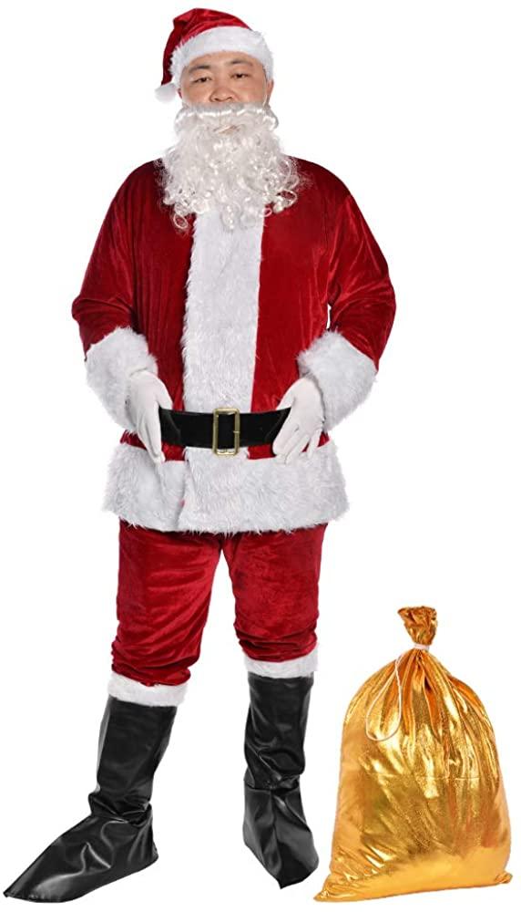 Udyr Christmas Santa Claus Costume Suit for Adult Men Deluxe Flannel Santa Outfit 9PCS