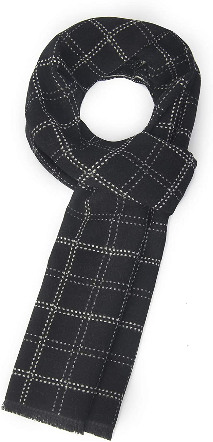 Men's winter luxury premium cashmere feel unique brushed warmth striped plaid fringed scarf scarf