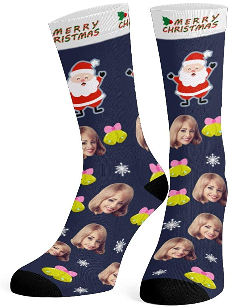 Personalized Face Socks with Photo Custom Print Happy New Year Crew Socks for Men Women