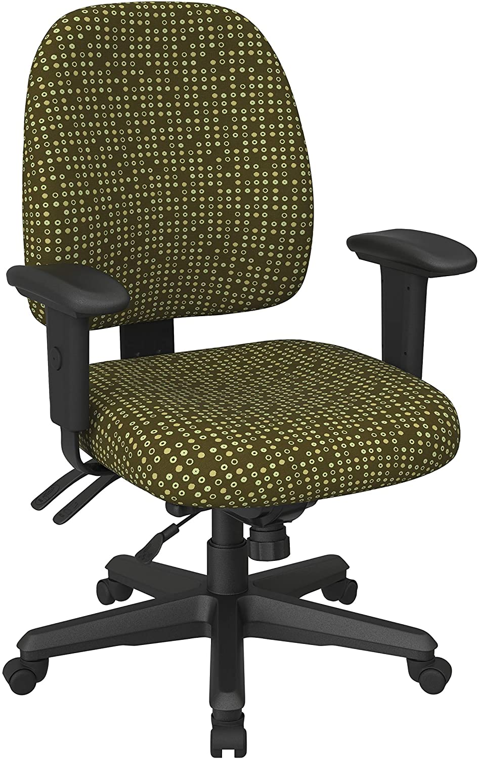 Office Star Back Mid Ergonomic Office Desk Chair with Adjustable Height, Tilt, and Padded Arm Rests, Fine Tune Herb Fabric