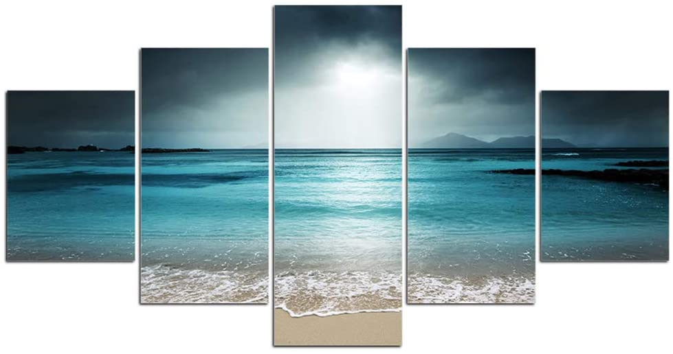 SQINAA 5 Piece Canvas Wall Art Ocean Pictures for Living Room Artwork HD Prints Home Modern Decor Framed Stretched Ready to Hang