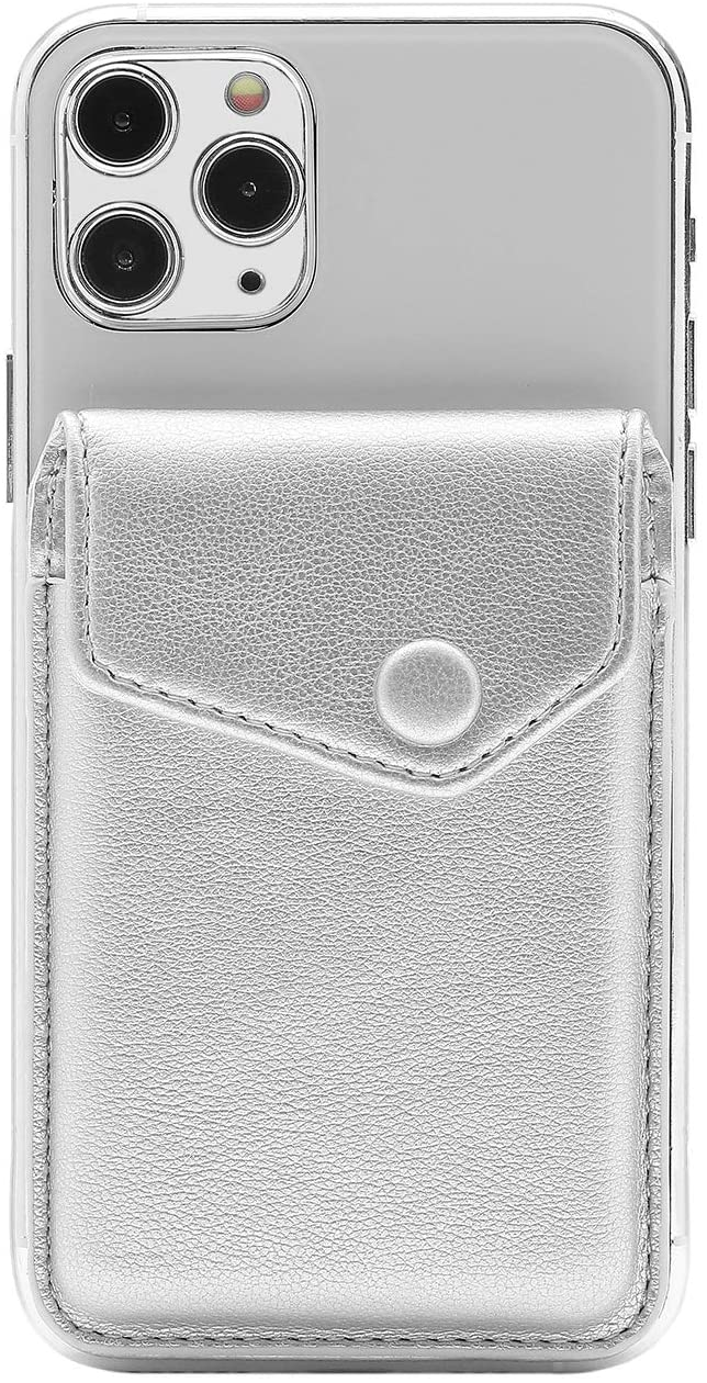 FRIFUN Card Holder for Back of Phone, Adhesive Cell Phone Slim Leather Wallet Stick on Wallet Credit Card for iPhone and Android Smartphones - RFID Blocking Covers (Silver)