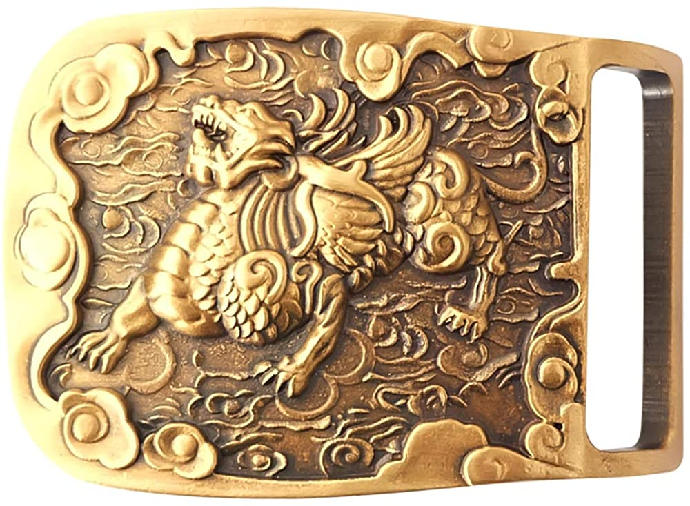 Copper Belt Buckle for Men,Mysterious oriental culture,Chinese style pattern,Good Gift for Men