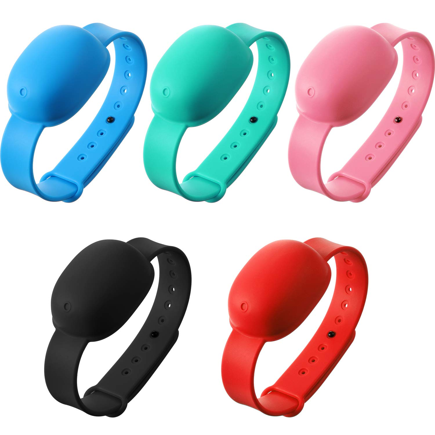 10 Pieces Refillable Silicone Hand Liquid Wristband Portable Adjustable Wearable Dispenser Pumps Wristband Holder Liquid Wearable Bracelet for Lotion Wash Liquid for Adult and Kids