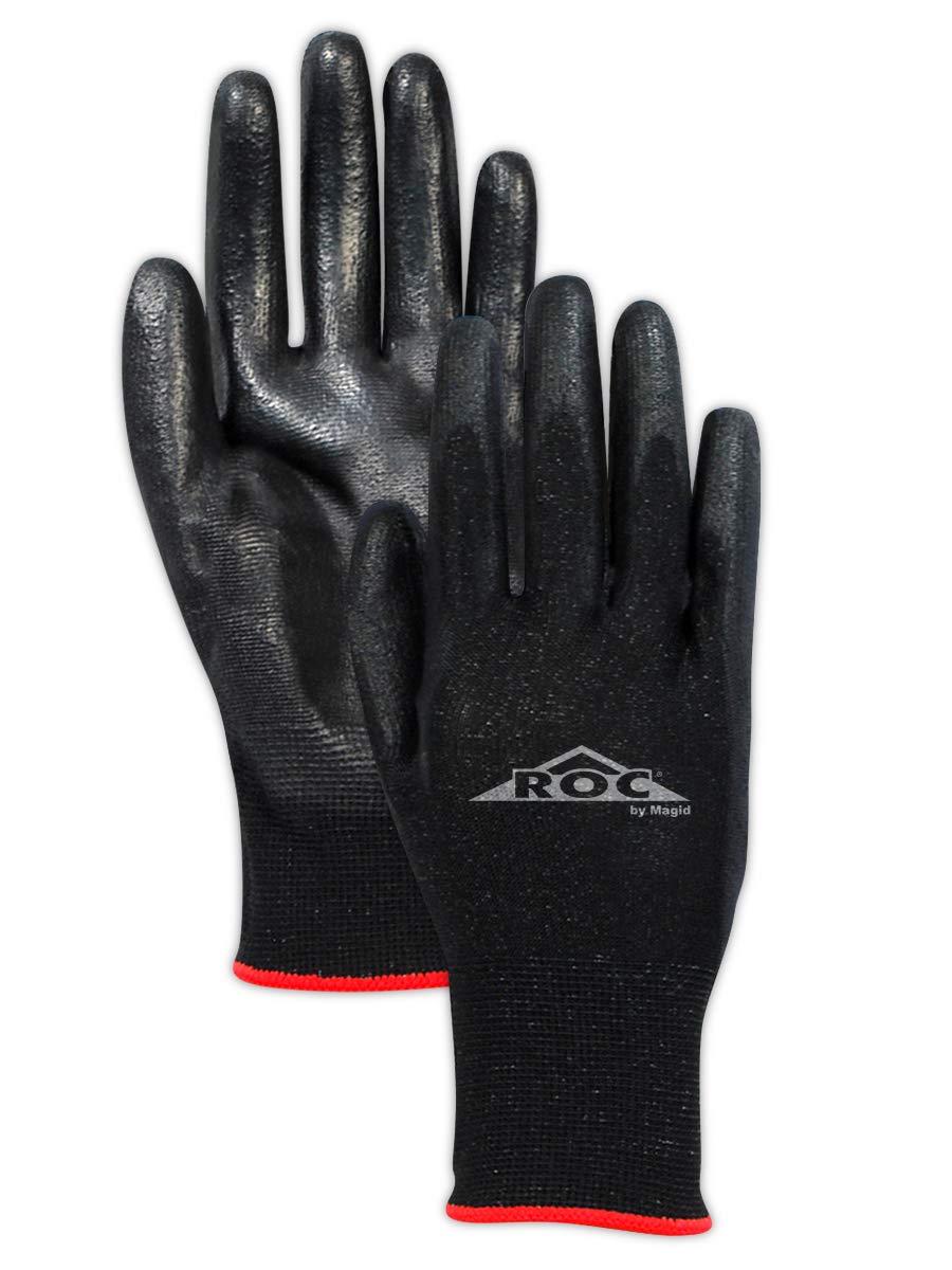 MAGID Safety GP1809 Ultra-Lightweight Polyurethane Palm Coated Work Glove, Size 9, Black (12 Pair)