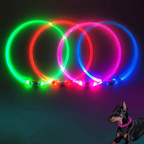 Domi USB Rechargeable LED Dog Collar - Light Up Dog Collars Glow in Dark Pet Dog Collar Keep Your Dogs Be Seen & Be Safe