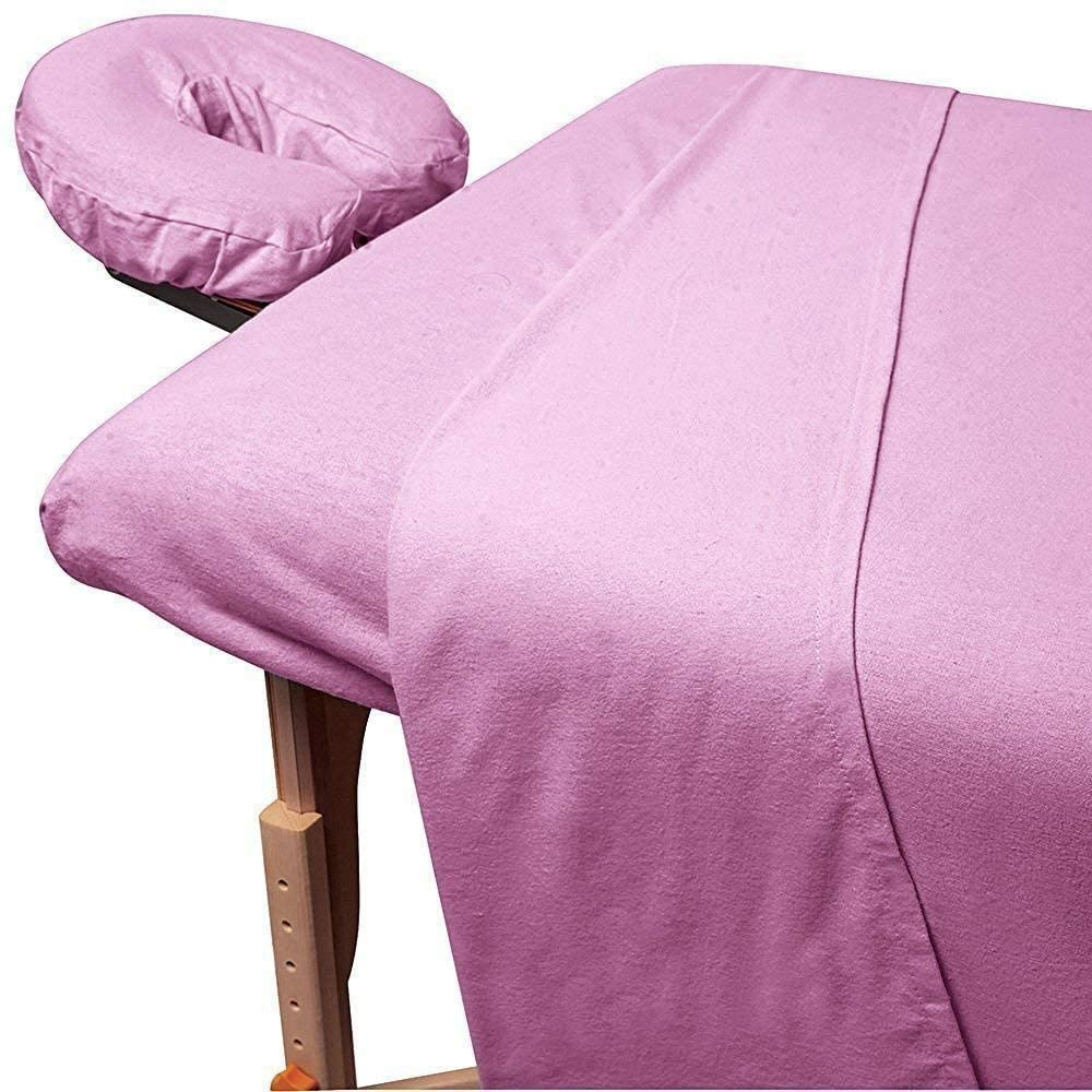 Beauty Spa Massage 450 Thread-Count Egyptian Cotton 3-Piece Massage Table Spa Sheet Set Fit up to 5-7