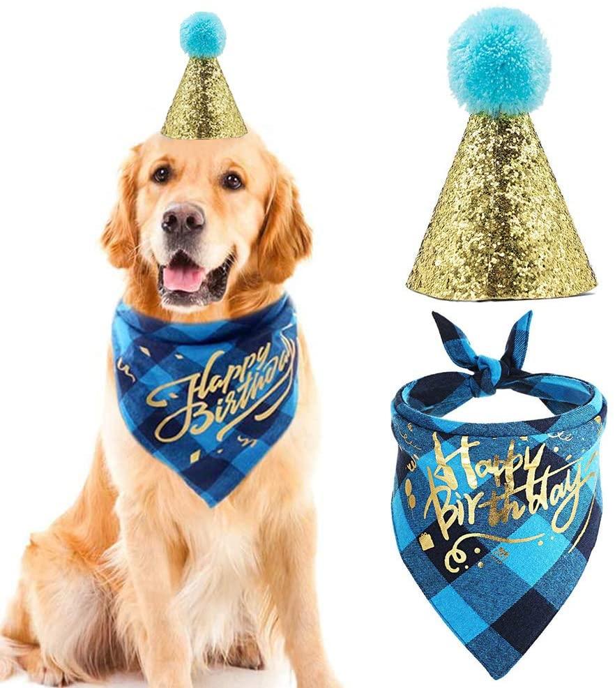 Mayoo Dog Birthday Bandana Scarfs with Cute Doggie Dog Birthday Party Birthday Hat