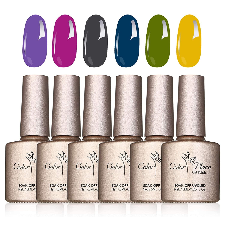 Anself Gel Nail Polish Set, 6 Colors Peelable Tearable Bright Lustre Stylish Nail Gel Set Not Need Lamp Manicure Nail Art Salon Home