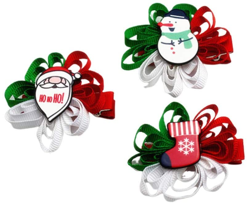 Holibanna 3PCS Christmas Hair Clip Alligato Xmas Bow Ribbon Accessories for Grils