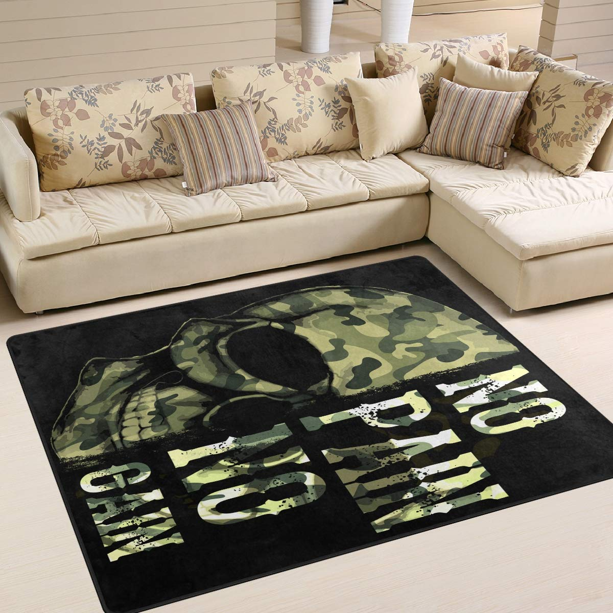 ALAZA Home Decoration Camo Skull with Quote No Pain Gain Large Rug Floor Carpet Yoga Mat, Modern Area Rug for Children Kid Playroom Bedroom, 5' x 7'