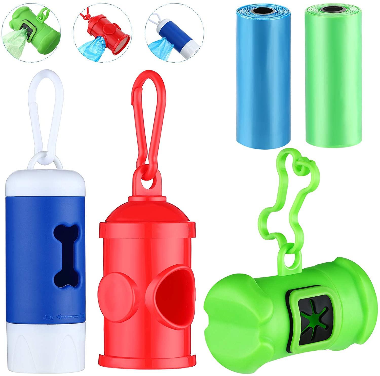 Frienda 3 Pieces Dog Waste Bags Dispenser with LED Light Leash Poop Waste Bag Holder Dispenser Dog Poop Waste Bags for Walking Running with Dog (3 Styles)