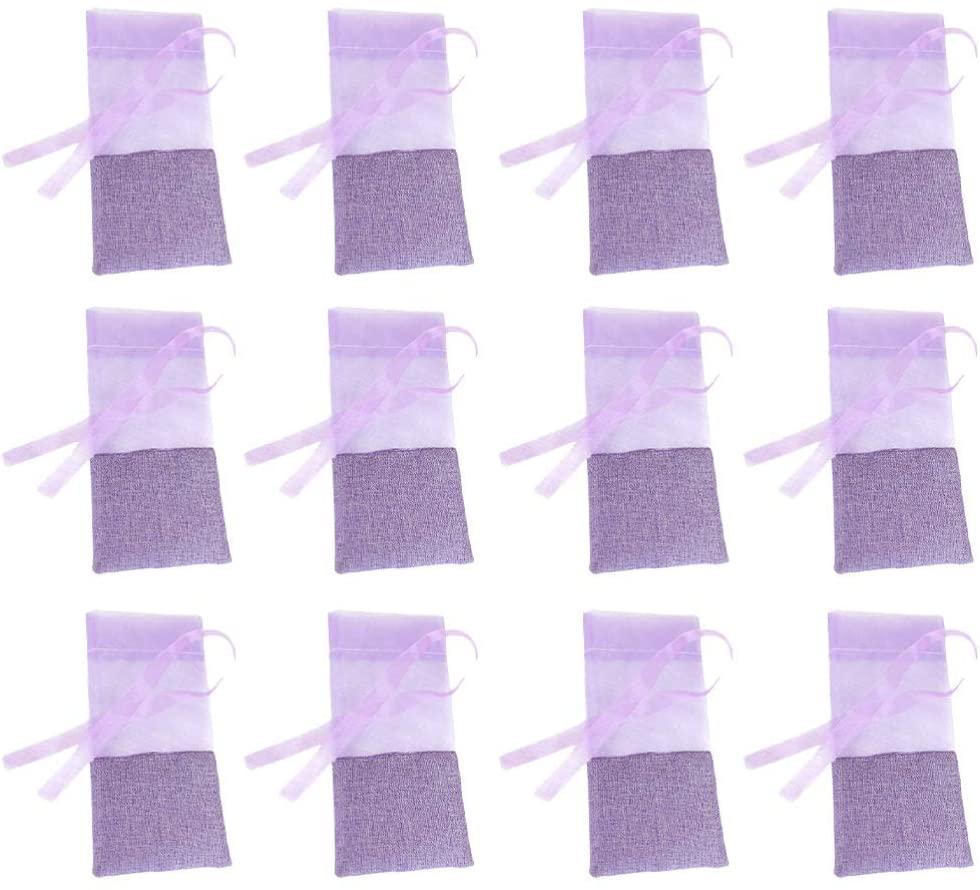 Hemoton 12pcs Lavender Bags Drawstring Dried Empty Lavendar Flower Sachet Bags Gift Pouches for Lavender Spice Herbs