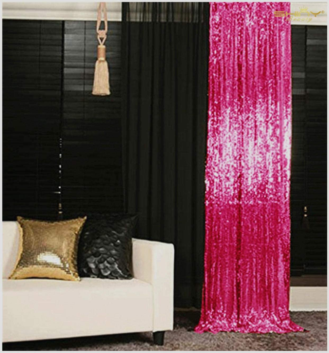 Sequin Backdrop Hot Pink 5 x 7 feet Happy Birthday Backdrop Prince Backdrop Curtains N11.01