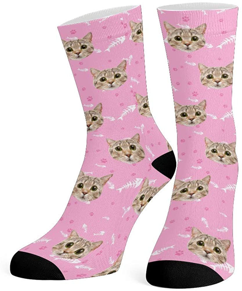 Custom Face Socks with Photo Personalized Print Cat Fish Bone Crew Socks for Men Women