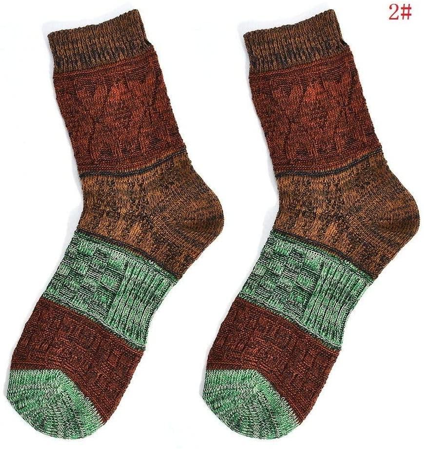 HS store Vintage Warm Winter Cotton Socks Soft Multi-Color Casual Socks for Men (#2)