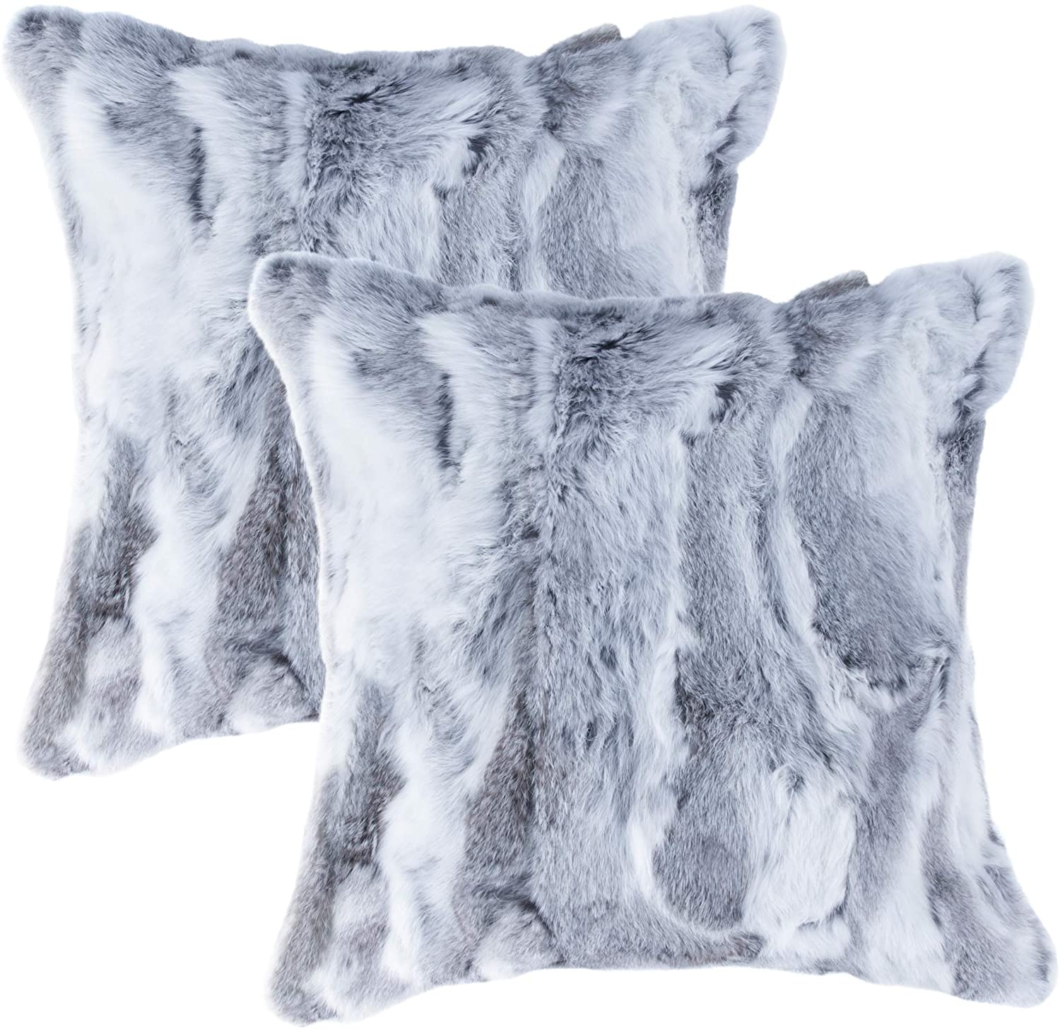 Set of 2, Natural Handcrafted Rabbit Fur Pillow with Polyfil Insert and Zipper Closure, Grey, 18 in x 18 in
