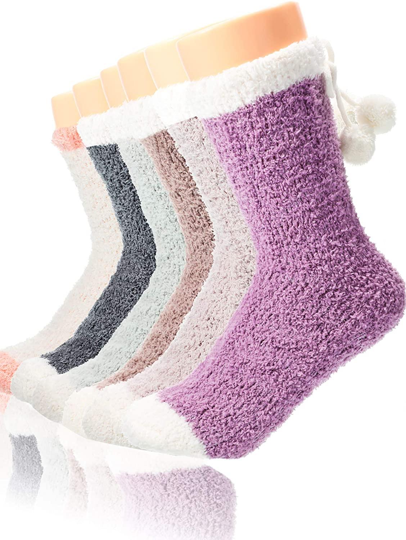 6 Pair Girls Women Fuzzy Slipper Socks Fluffy Cozy Soft Socks Warm Crew Socks