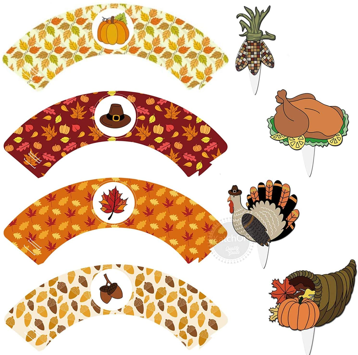Thanksgiving Cake Topper and Wrapper for Thanksgiving Decorations - Pack of 24 - Thanksgiving 12 Cake Wrappers and 12 Cake Toppers | Thanksgiving Party Favors for Family and Kids - Little DIY Required