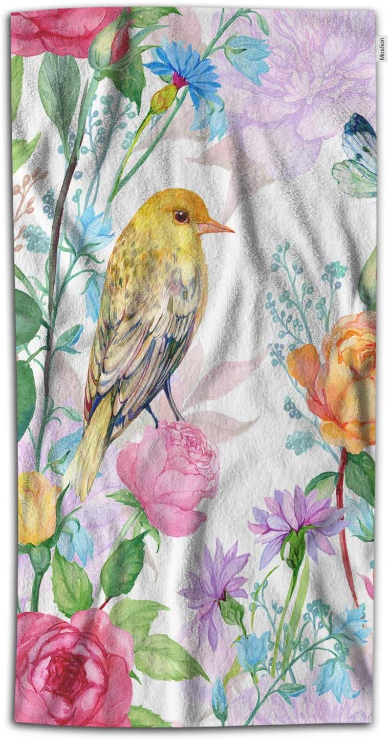 Moslion Floral Bath Towel Birds Butterfly with Colorful Rose Flower Green Botanical Leaves Towel Soft Microfiber Baby Hand Beach Towel for Kids Bathroom 32x64 Inch