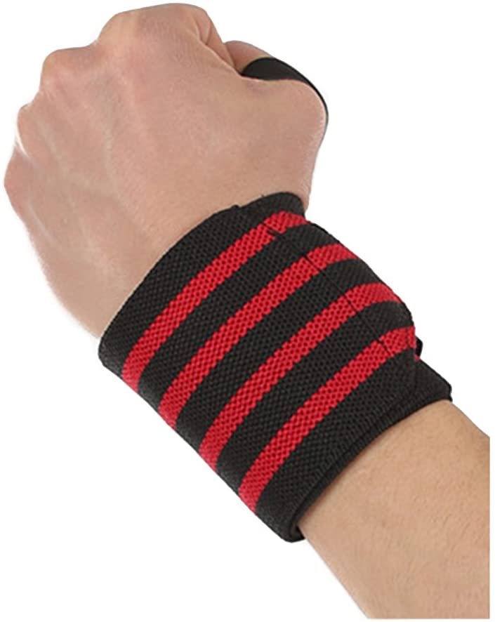 ROSENICE Sports Weight Lifting Wrist Wraps Supports with Thumb Loop for Men and Women 57 x 8cm (Red)
