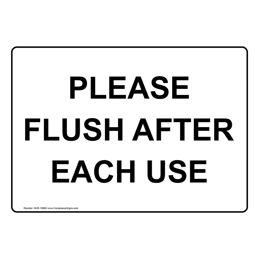 Please Flush After Each Use Label Decal, 10x7 in. Vinyl for Restrooms by ComplianceSigns
