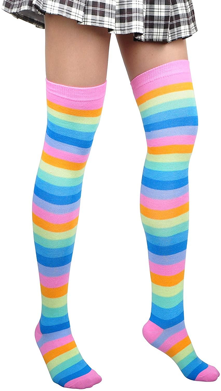 Women Thigh High Socks Long Striped Cotton Over Knee Stockings Cosplay Fashion Wild Leg Warmers